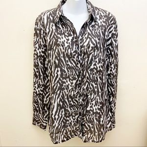 Tahari Animal Print Button Down Shirt Long Sleeve